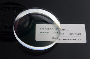 Super Hydrophobic 1.74 High Index Lenses , Anti Glare High Index Aspheric Lenses