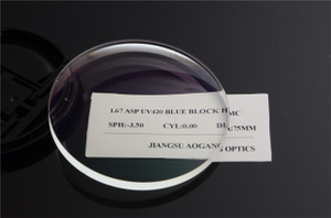 1.67 UV420 Anti-reflection Coating Blue Block Lens For Blue Light Blocking Glasses