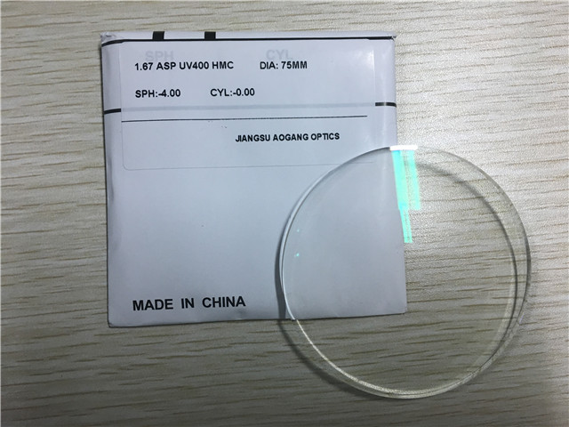 High Index Aspherical UV400 AR Coating Cr-39 1.67 Aspheric Lens